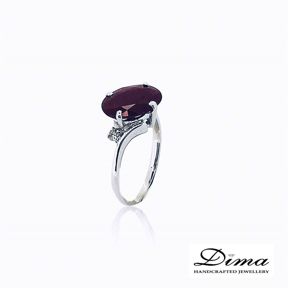 18ct White Gold, 2.78ct Ruby and Diamond Ring