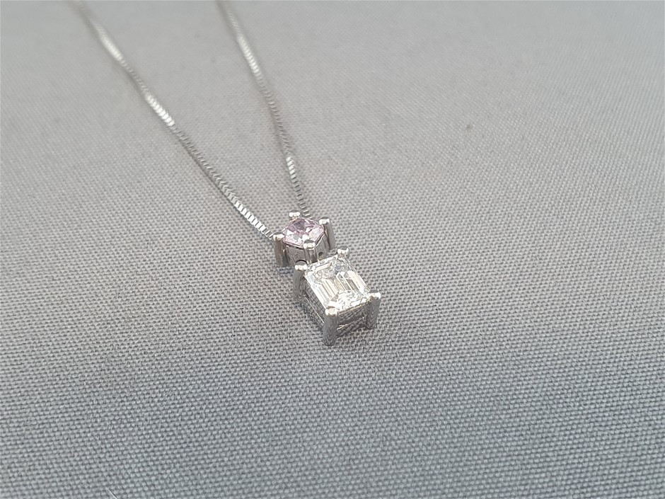 Stamped 18ct White Gold, 2 Diamond Set Pendant & Chain Necklet