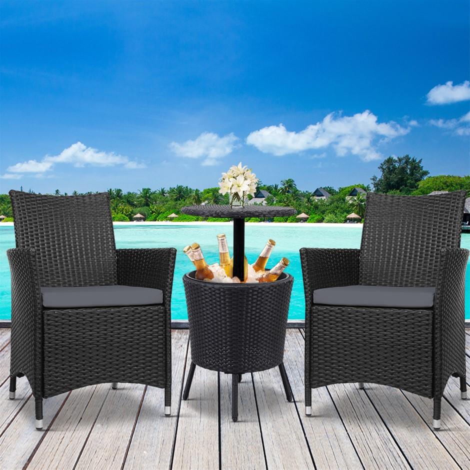 Gardeon Outdoor Furniture Wicker Chairs Bar Table Cooler Ice Bucket Patio
