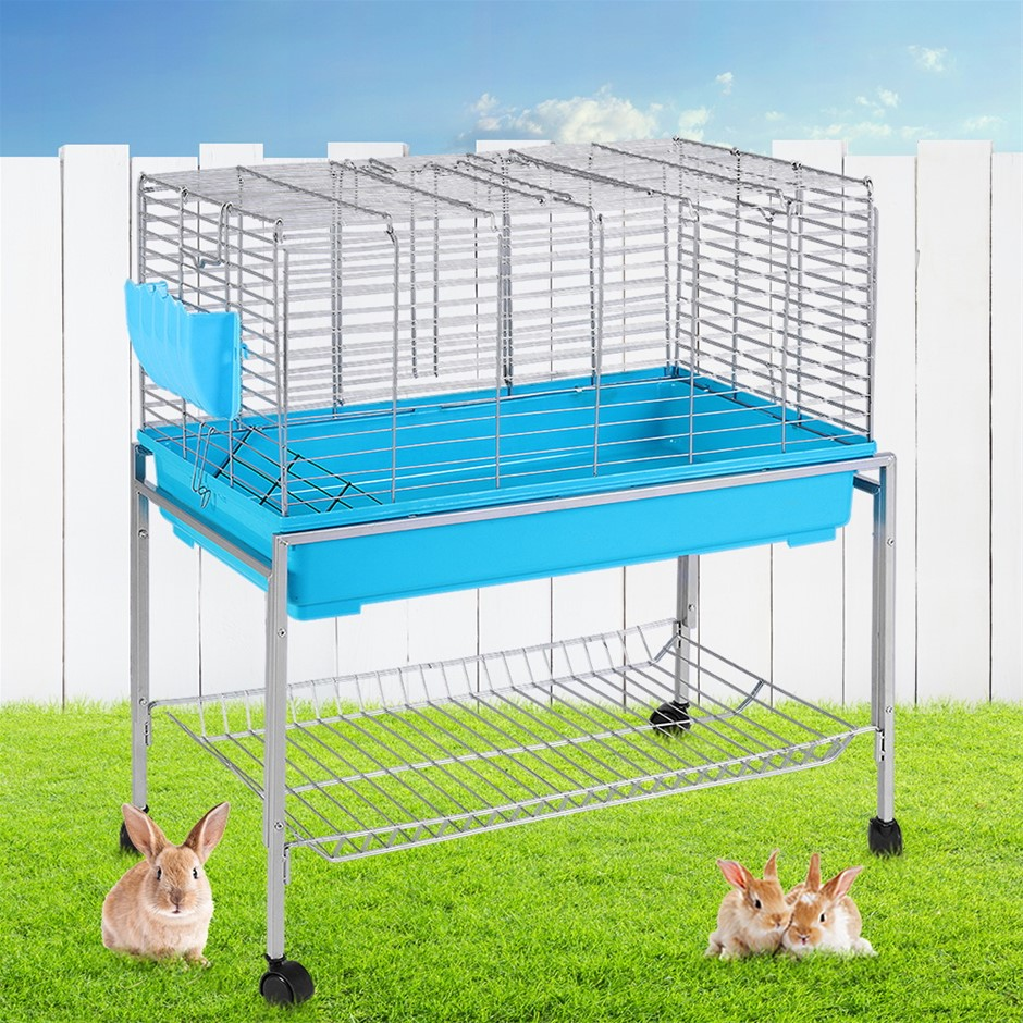 i.Pet Rabbit Cage Hutch Indoor Hamster Enclosure Bunnings Carrier Blue