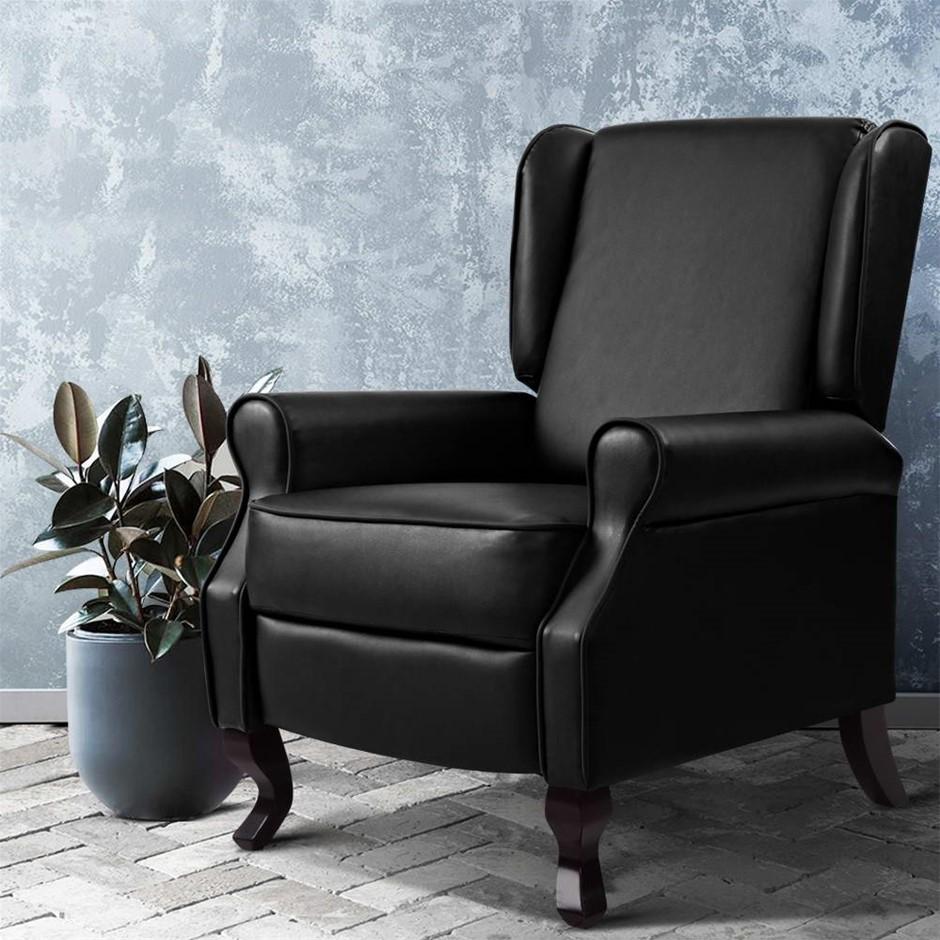 Artiss Recliner Chair Luxury Lounge Armchair Single Sofa Leather Black