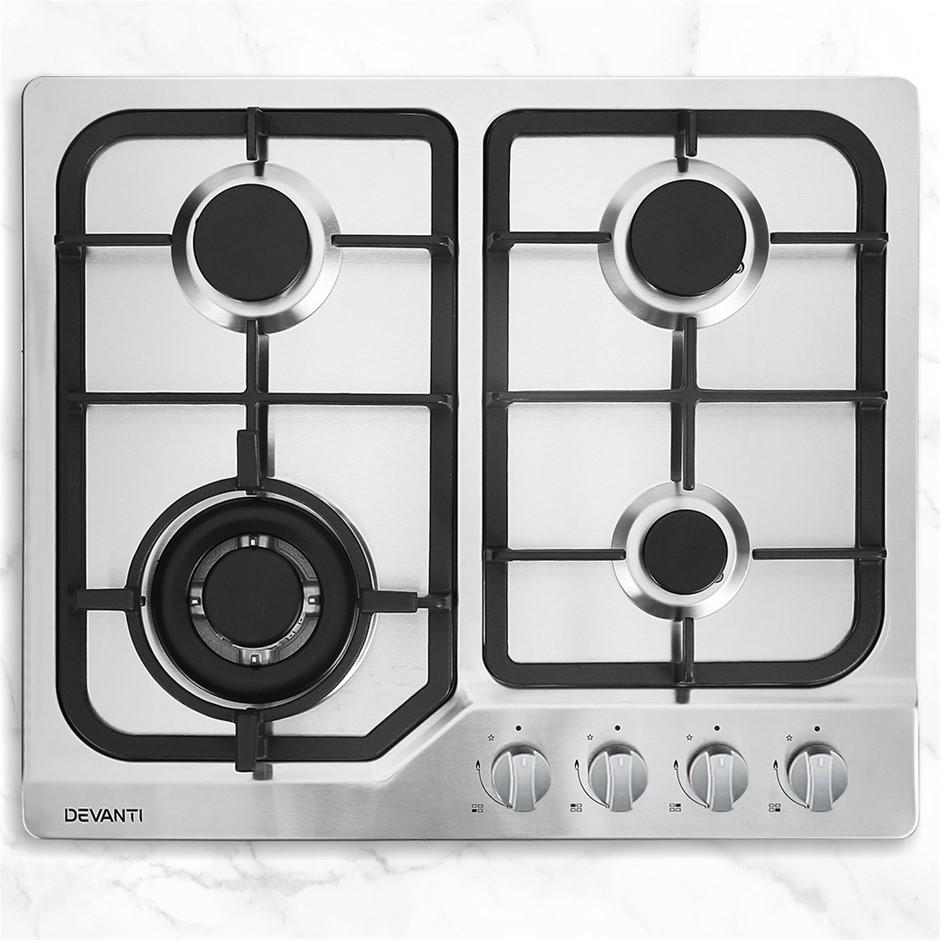 Devanti Gas Cooktop 60cm Gas Stove Cooker 4 Burner