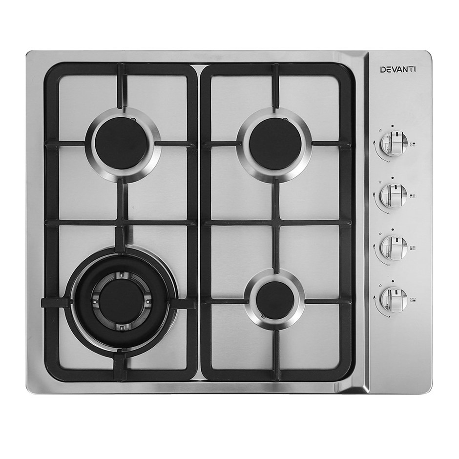 Devanti Gas Cooktop 60cm Kitchen Stove 4 Burner Cook Top