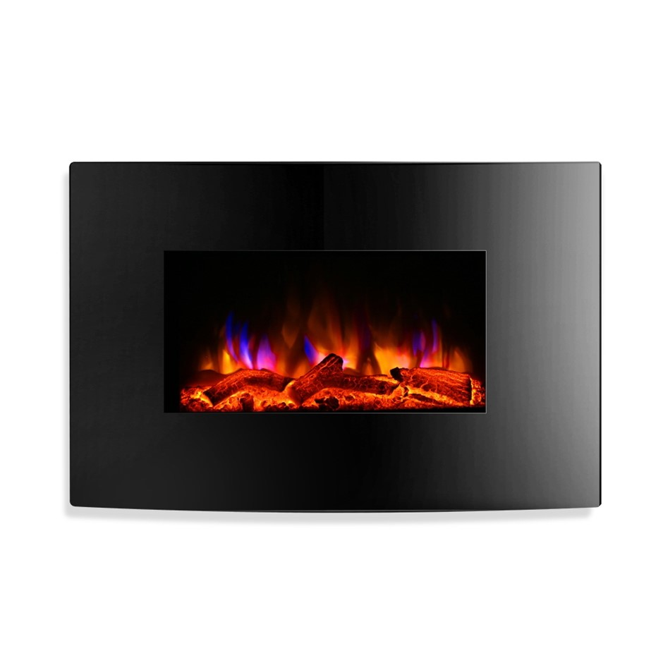 Devanti 2000W Wall Mounted Electric Fireplace Fire Log Heater