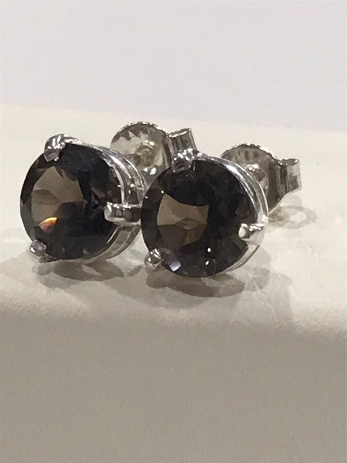 Stunning Genuine Smokey Quartz 2.60ct Stud Earrings