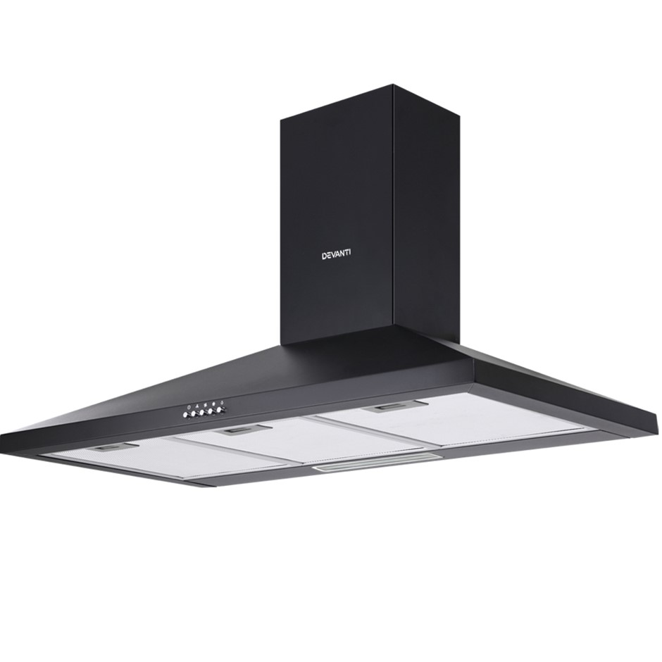Devanti Range Hood 90cm 900mm Kitchen Canopy LED Light Wall Mount Black