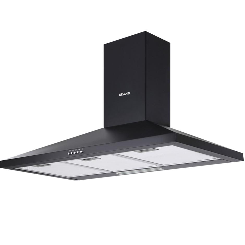 Devanti Range Hood 90cm 900mm Kitchen Canopy LED Light Wall Mount Black