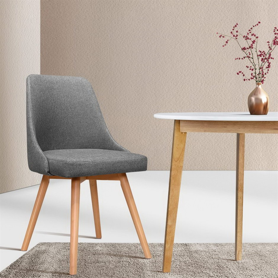 Artiss 2x Replica Dining Chairs Beech Wooden Timber Kitchen Fabric Grey