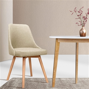 Artiss 2x Replica Dining Chairs Beech Wo