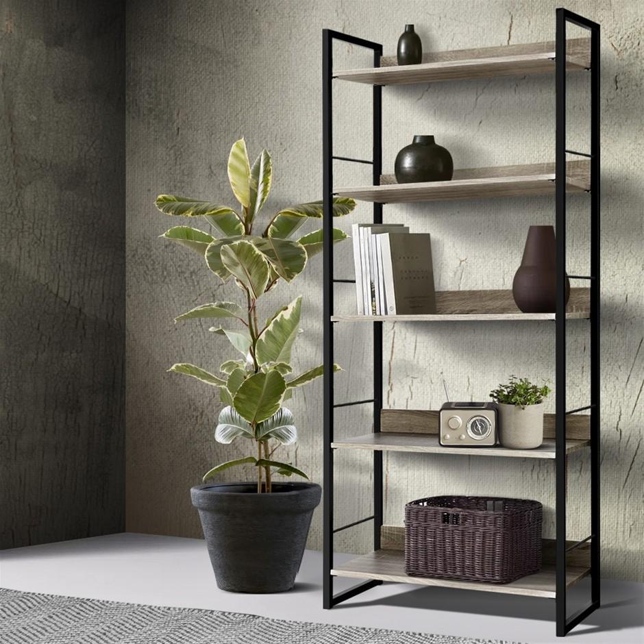 Artiss Bookshelf Wooden Display Shelves Metal Wall Black