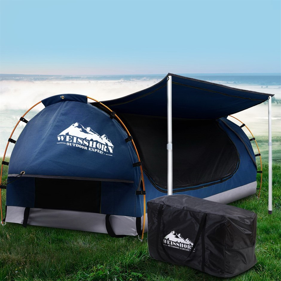 Weisshorn Double Swag Camping Swags Canvas Dome Tent Dark Blue w/Mattress