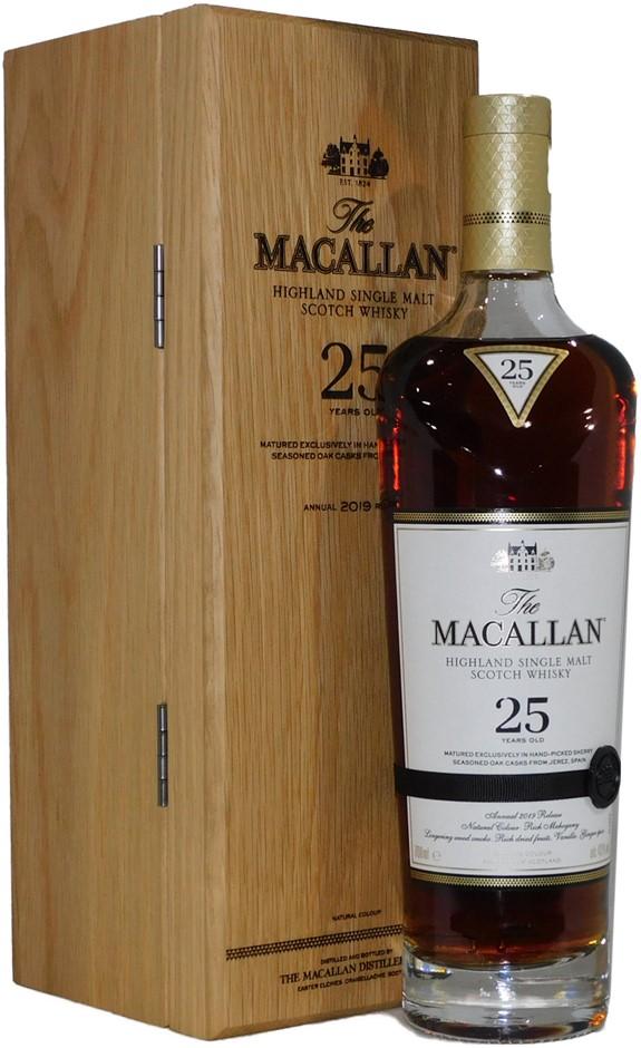 The Macallan Sherry Oak 25 Year Old 2019 Single Malt Scotch (1x 700mL)