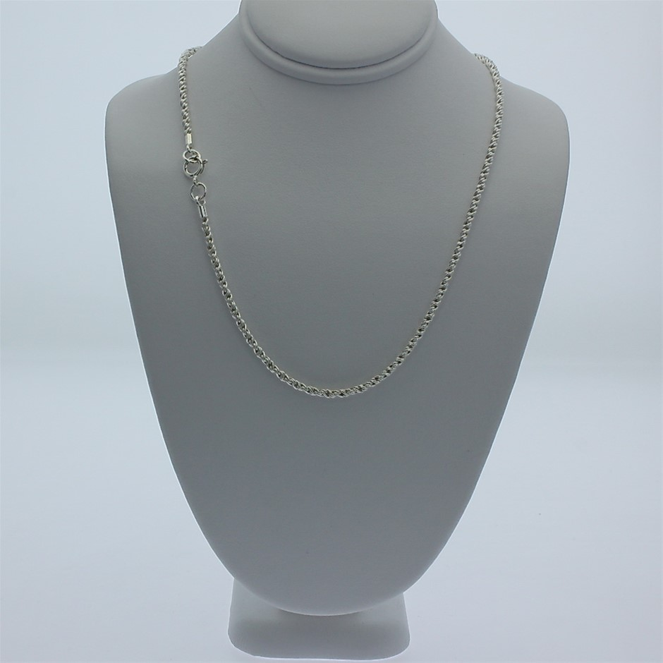 Genuine solid Sterling Silver rope chain necklace 45 cm