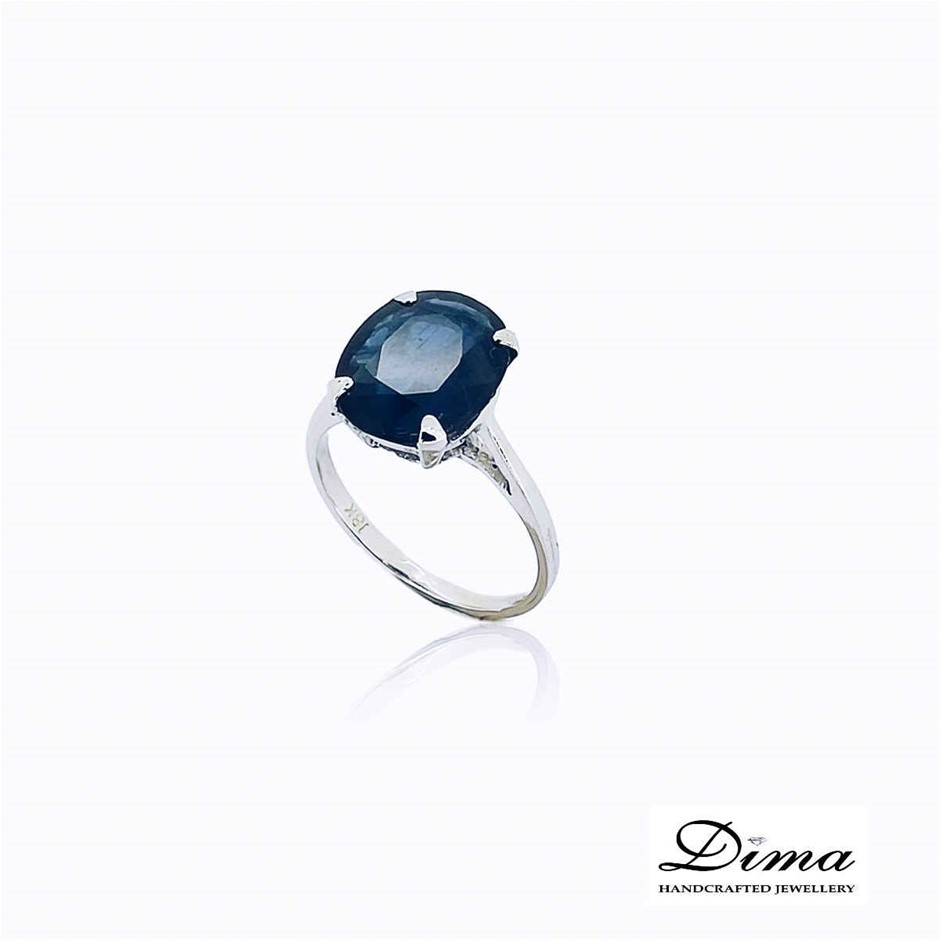 18ct White Gold, 6.00ct Blue Sapphire Ring