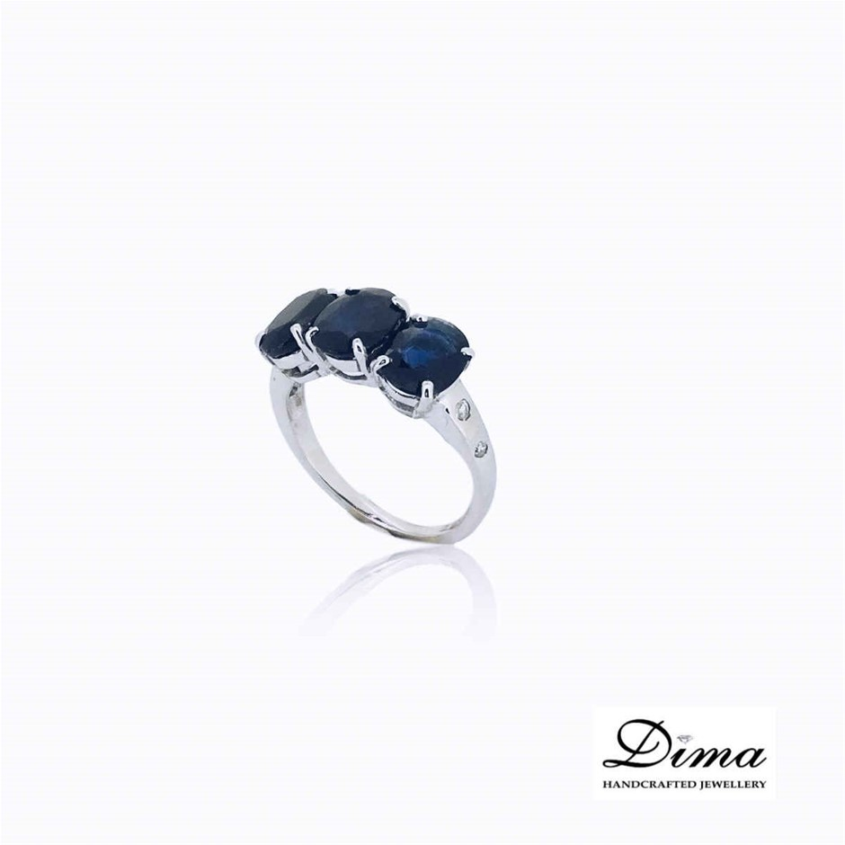 18ct White Gold, 4.69ct Blue Sapphire and Diamond Ring