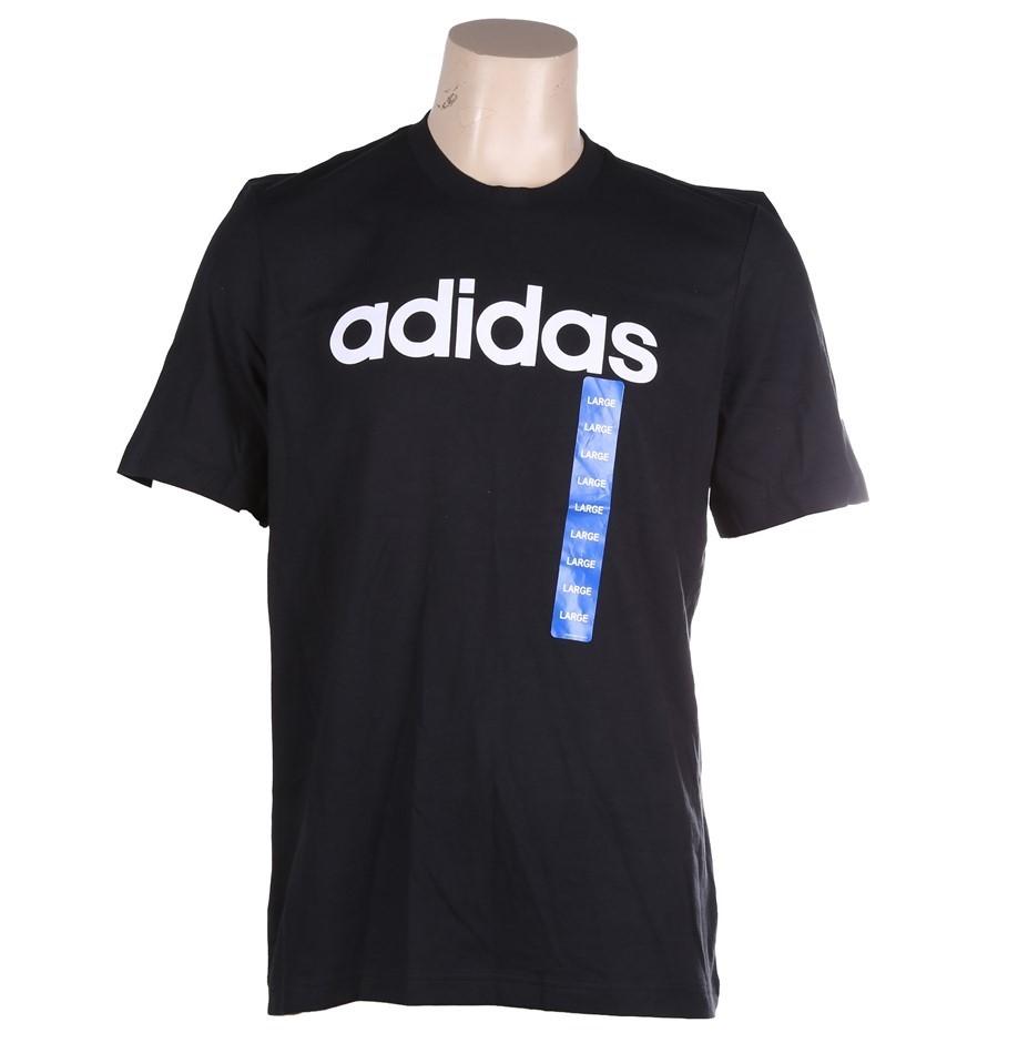 ADIDAS Men`s Essential Linear T-Shirt, Size L, 100% Cotton, Black/White. (S