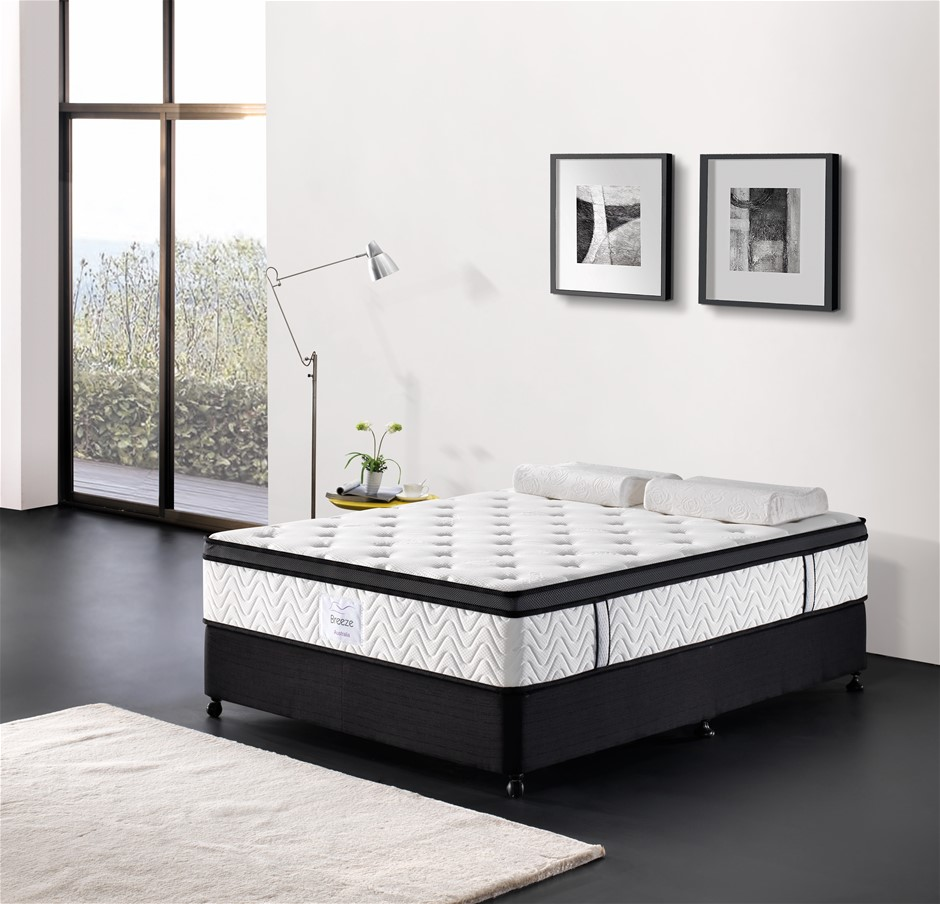 Breeze Queen Mattress Bed Memory Foam Euro Top Pocket Spring 32cm 5 Zone