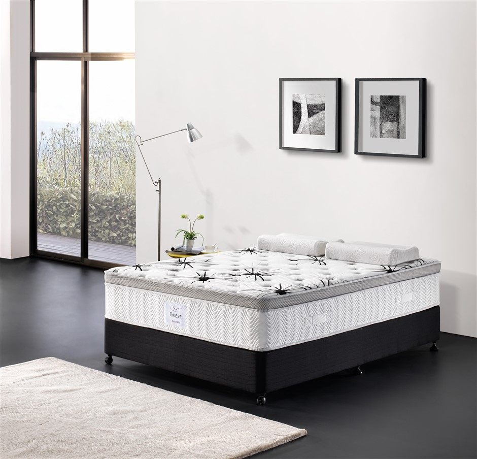 Breeze Queen Mattress Bed Cool Gel Infused Memory Foam Euro Top 7 Zone 34cm