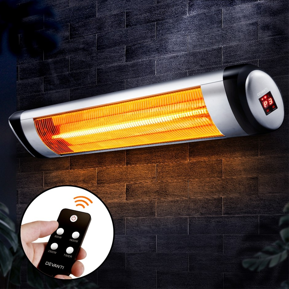 Devanti Electric Radiant Strip Heater Indoor Outdoor Remote Control 2500W