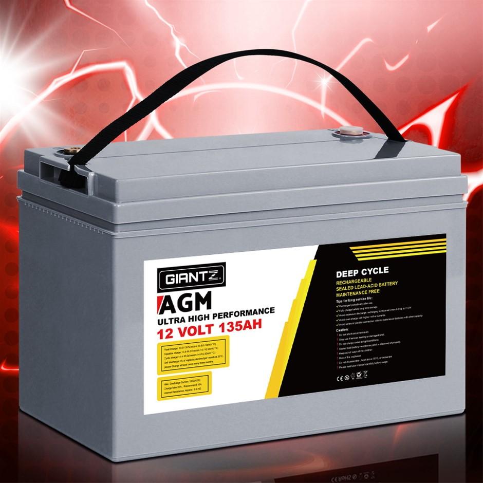 Giantz 135Ah Deep Cycle Battery 12V AGM Power Portable Box Solar Caravan