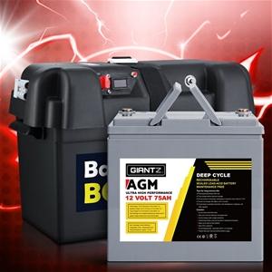 Giantz 75Ah Deep Cycle Battery & Battery
