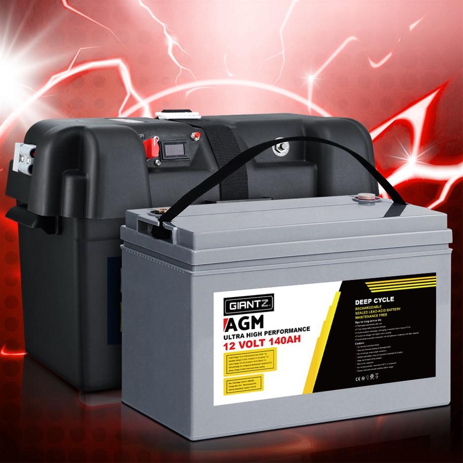Giantz 140Ah Deep Cycle Battery & Battery Box 12V AGM Power Solar Caravan