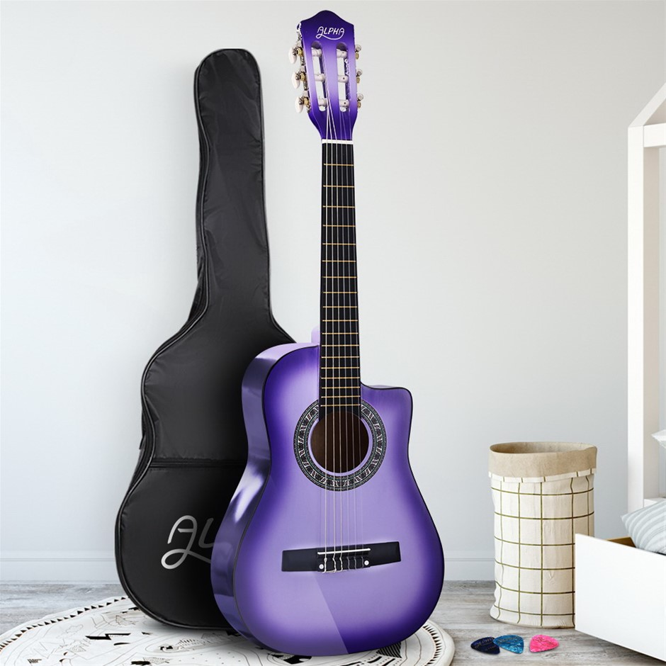 """Alpha 34"""" Inch Guitar Classical Acoustic Cutaway Wooden 1/2 Size Purple"""
