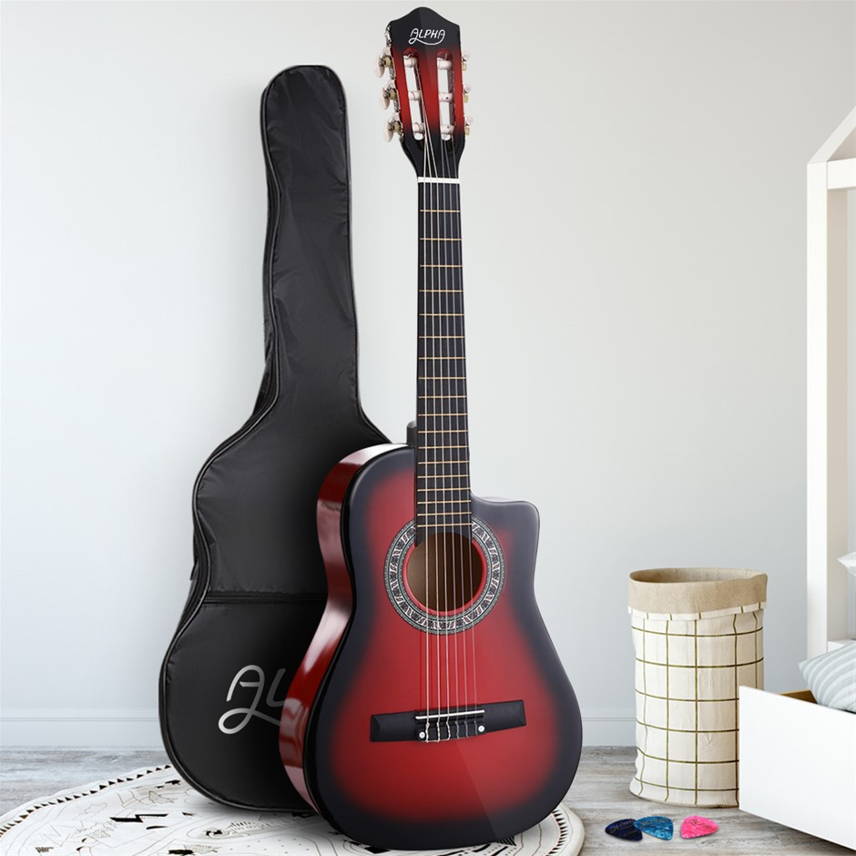 """Alpha 34"""" Inch Guitar Classical Acoustic Cutaway Wooden 1/2 Size Red"""