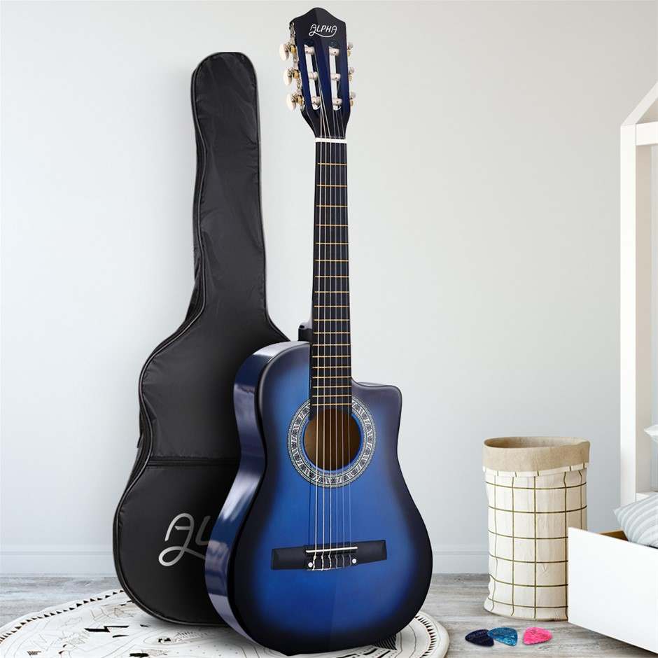 """Alpha 34"""" Inch Guitar Classical Acoustic Cutaway Wooden 1/2 Size Blue"""