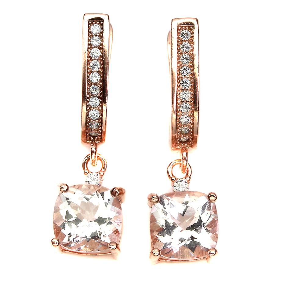 Stunning Genuine Morganite Drop Earrings