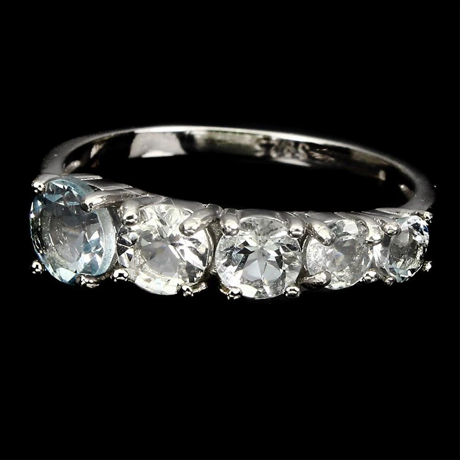 Unique Genuine Aquamarine Eternity Band Ring.
