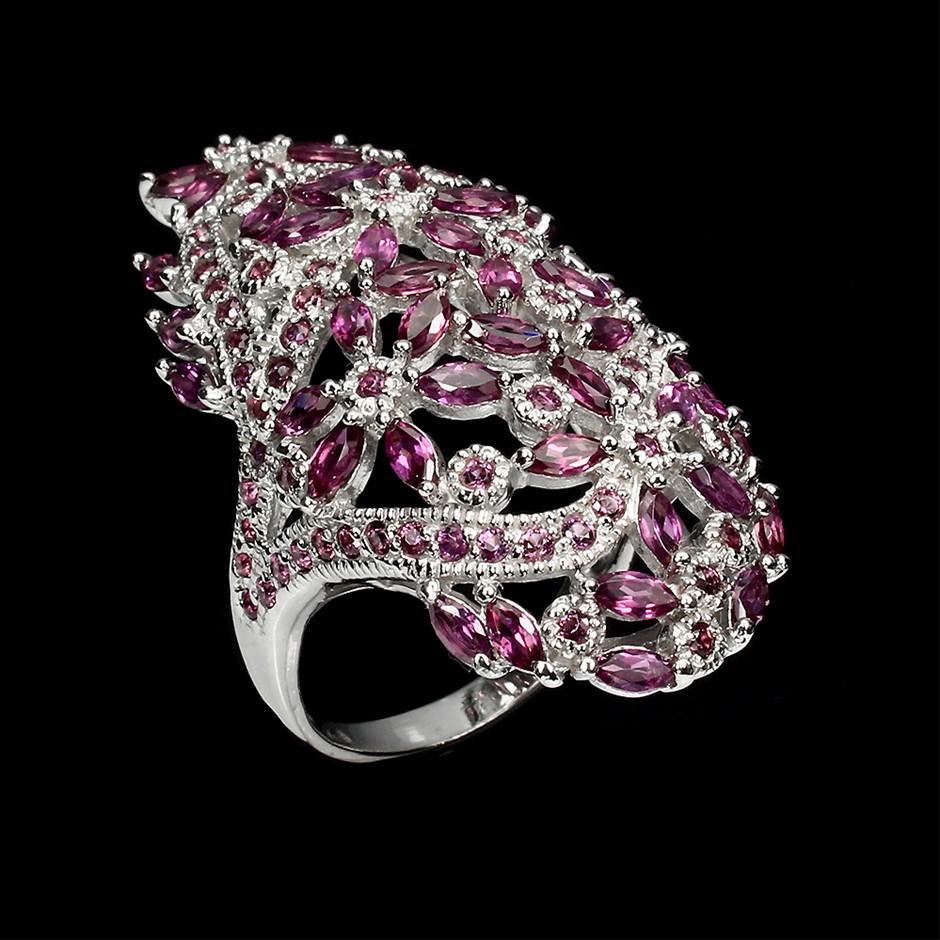 Stunning Genuine Rhodolite Garnet Statement Ring.