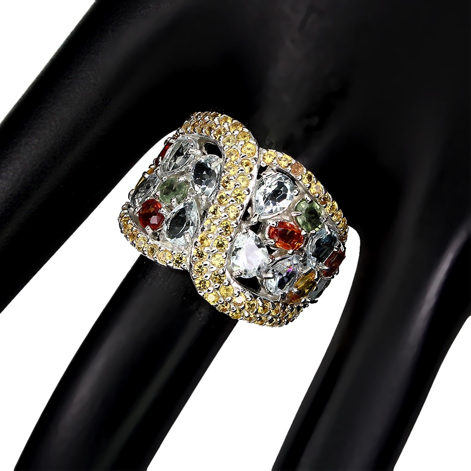 Genuine Aquamarine & Sapphire Statement Ring