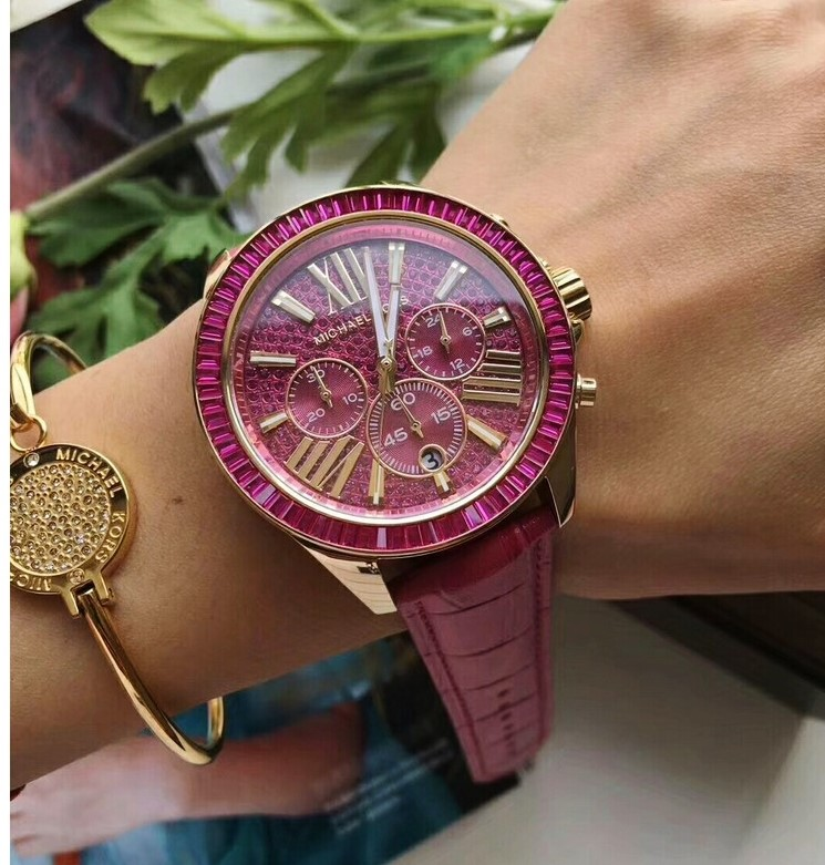 Never Worn Michael Kors 'Wren' Fuschia Gold Plated Gemstone Stunning Watch