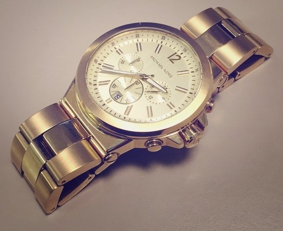 Mens New Gold Plated Michael Kors Couture 'Jet Set' Luxury Watch