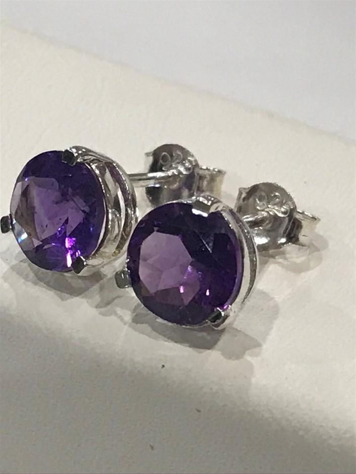 Stunning Genuine Amethyst 2.60ct Stud Earrings