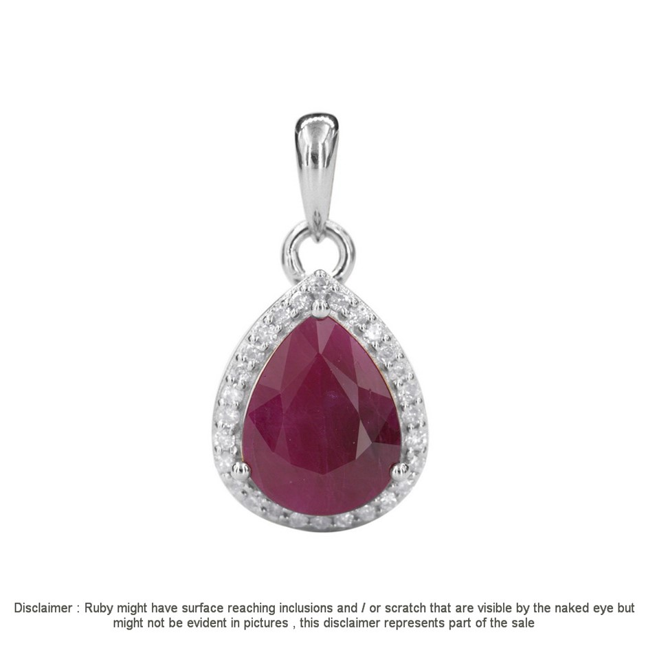 9ct White Gold, 2.36ct Ruby and Diamond Pendant