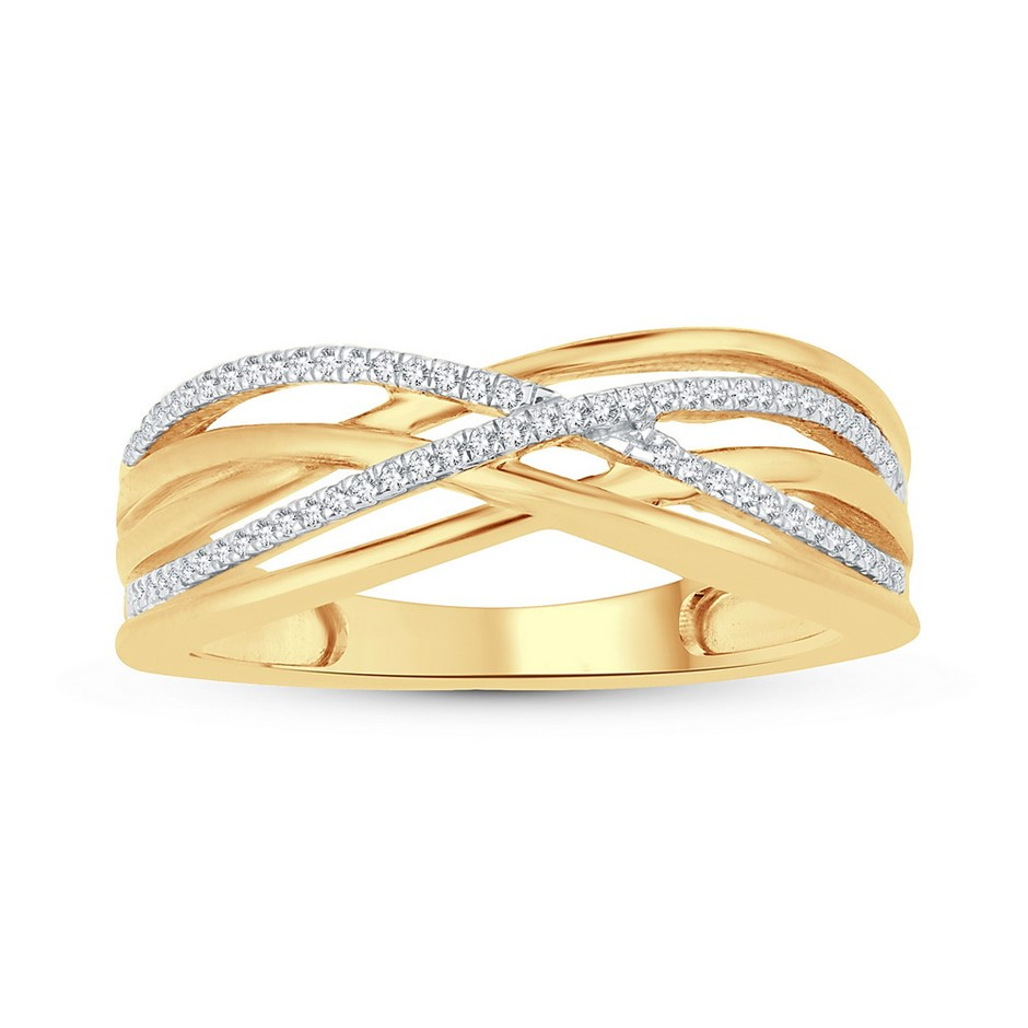 9ct Yellow Gold, 0.09ct Diamond Ring