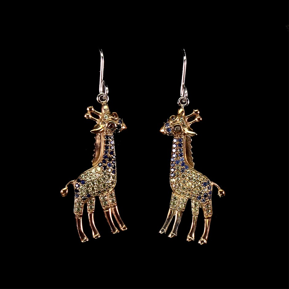 Spectacularly Unique Genuine Sapphire Giraffes Drop Earrings