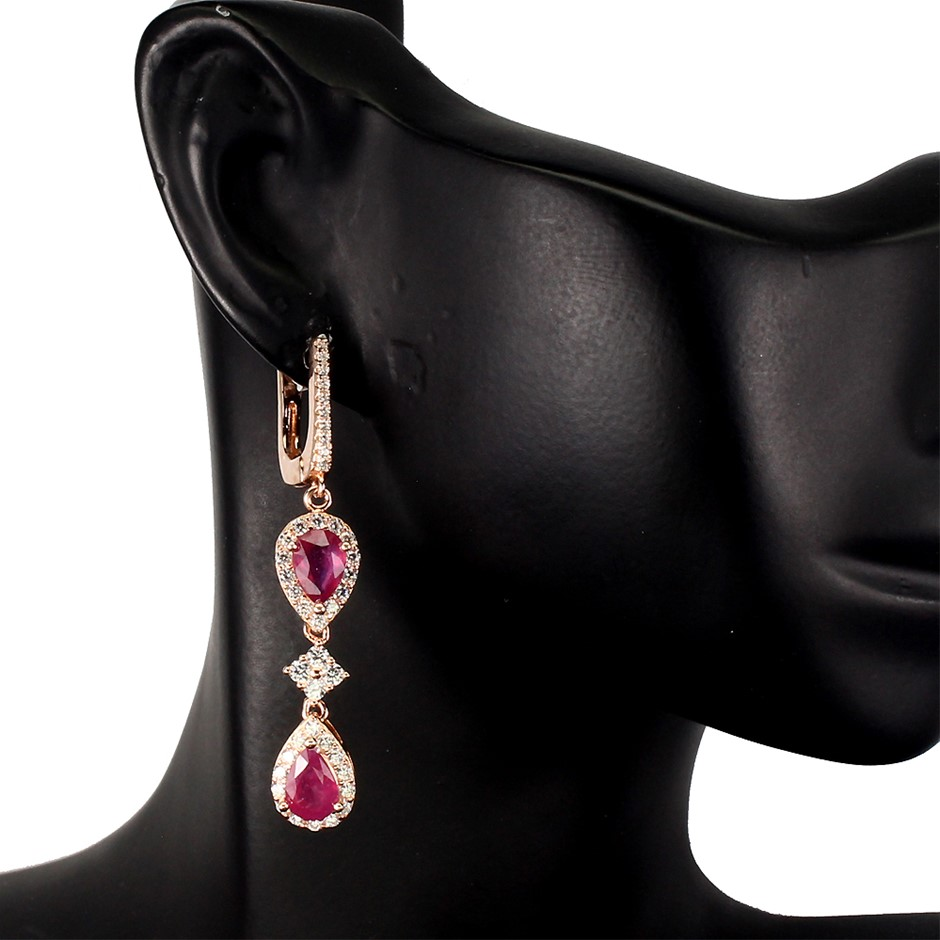 Gorgeous Genuine Ruby Drop Earrings