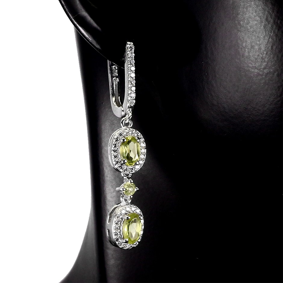 Beautiful Genuine Peridot Drop Earrings