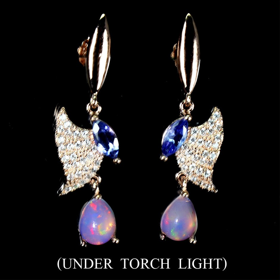Delightful Genuine Tanzanite & Opal Butterfly Earrings