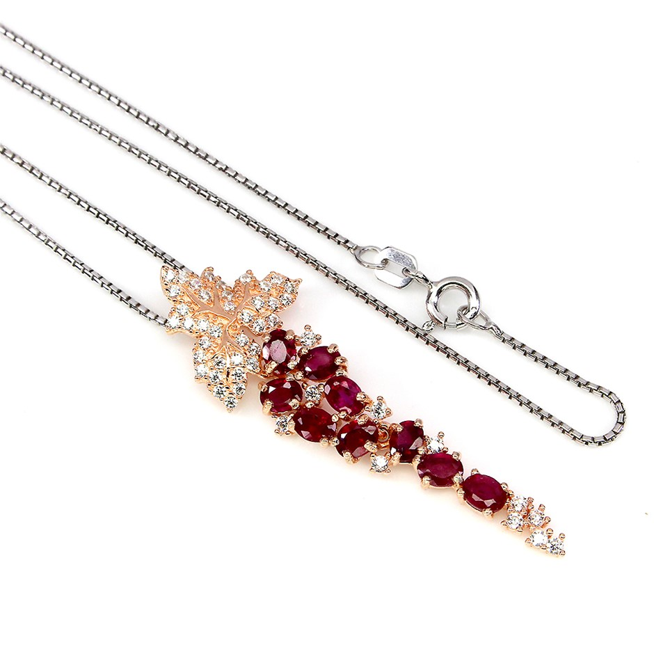 Stunning Genuine Ruby Drop Necklace