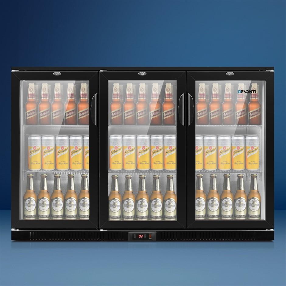 Devanti Bar Fridge 3 Glass Door Commercial Display Freezer Cooler Black