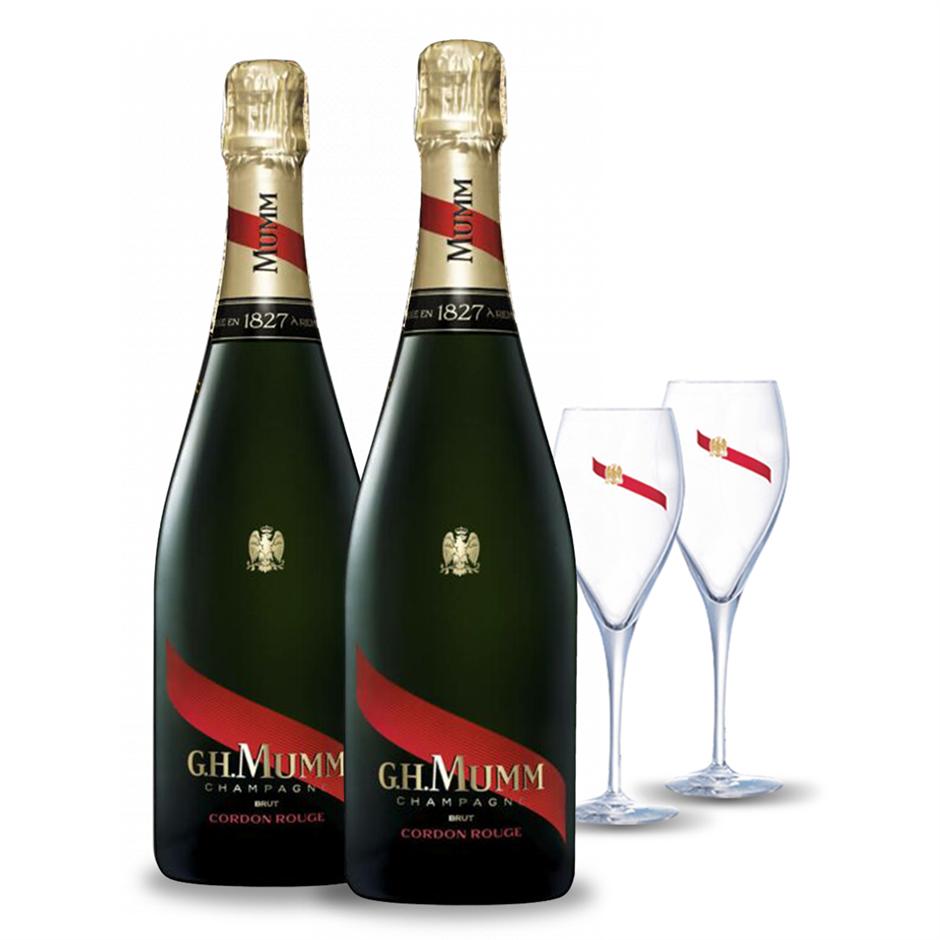 G.H.Mumm Cordon Rouge Brut NV (2x 750mL) + Glasses