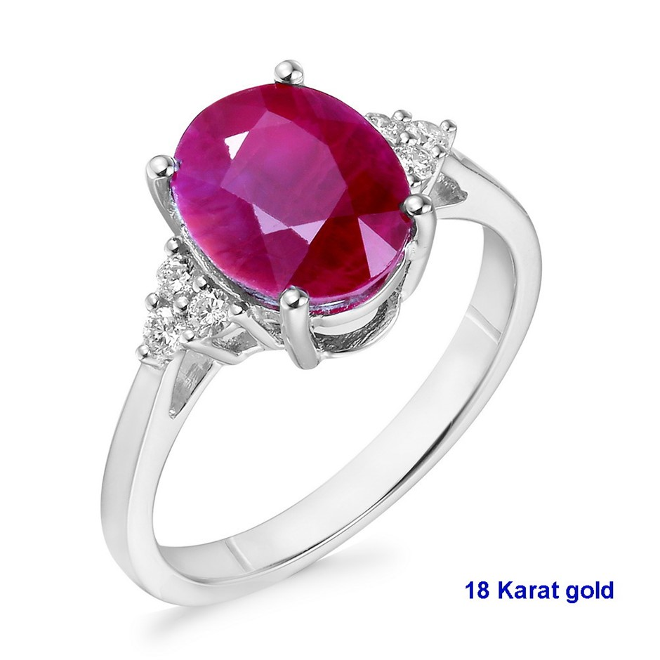 18ct White Gold, 3.46ct Ruby and Diamond Ring