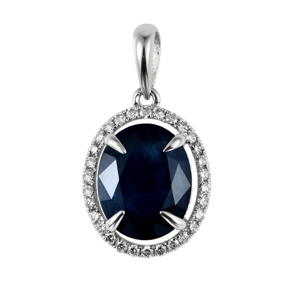 9ct White Gold, 3.43ct Blue Sapphire and Diamond Pendant
