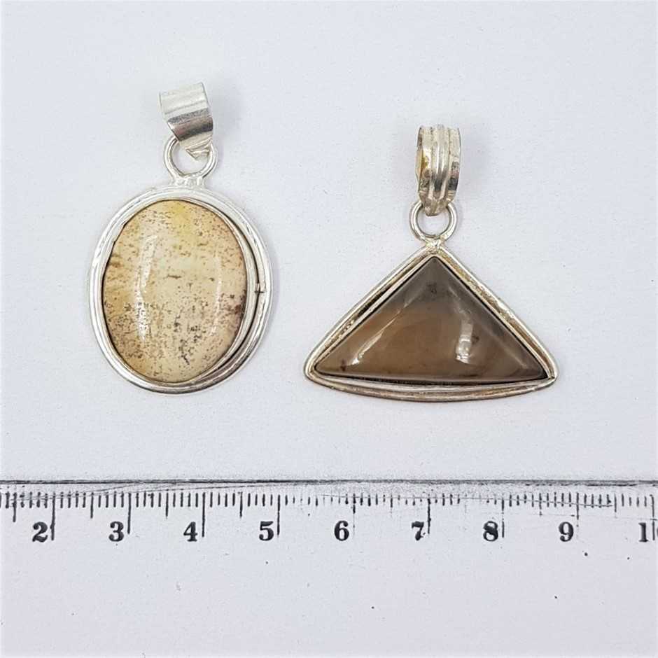 Two Sterling Silver Gemstone Pendants
