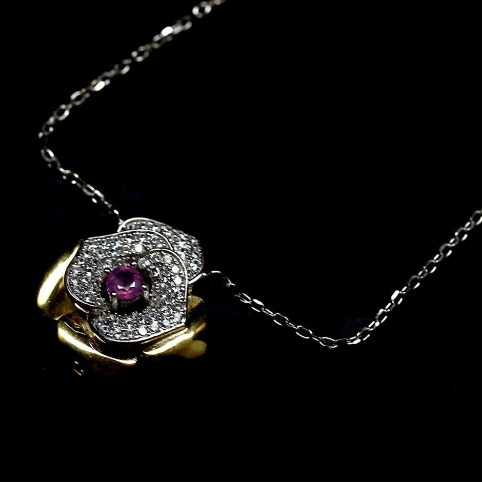 Beautiful Genuine Ruby Pendant Necklace