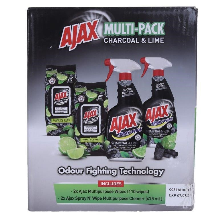 AJAX Multi Pack of 4 (Charcoal & Lime) comprising; Multi- Purpose Wipes (11